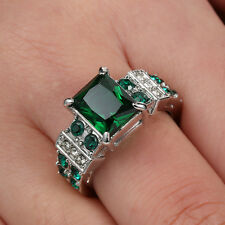 Fashion Size 7 Luxury Engagement Emerald 10K white Gold Filled Rings For Women's