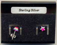 Star Pink Fluorescent Sterling Silver 925 Studs Earrings Carded