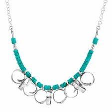 Turquoise Bead Curlicue Necklace in Sterling Silver