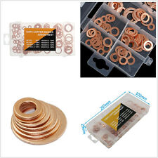 120 Pcs 8 Sizes Assorted Solid Copper Crush Washers Seal Flat Ring Set With Box