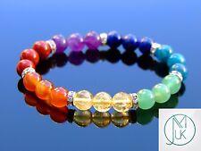 7 Chakra Natural Gemstone Bracelet 6.5-7'' Elasticated Healing Stone Chakra