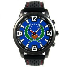 Pohnpei Micronesia State Flag Mens Style Black Silicone Quartz Wrist Watch S482F