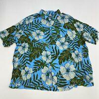 Puritan Button Up Shirt Men's Size 3XL XXXL Short Sleeve Blue Floral Hawaiian
