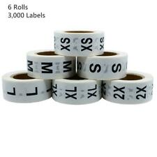 Hybsk White Clothing Size Stickers Adhesive Labels for Retail Apparel Xs S M L