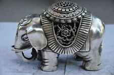 CHINESE old copper plating silver HANDWORK ELEPHANT STATUE d02