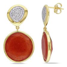 Amour 22 1/10 CT TGW Carnelian Created White Sapphire Earrings Yellow Silver