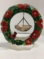 "Home Interiors Cardinal Poinsettia Wreath Wax Melt Candle Holder 9"" Tall Ceramic"