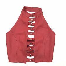Suzis Hyde Halter Top Size Small Medium Womens Red Leather Corset Biker Snap