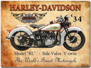 1934 HARLEY DAVIDSON LEGEND LARGE TIN SIGN  large 40cm * 30cm -