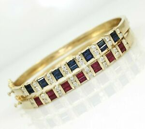Solid 14K Gold Natural Ruby or Sapphire Diamond Hinged Cuff Bracelets