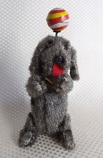 Great Vintage Wind-Up Ball Balancing Dog Fur Covered Tin Toy Japan - 1950s