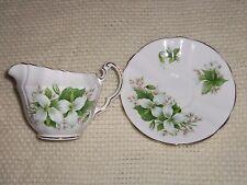ROYAL ADDERLEY Trillium Canadian Provincial Flowers China Creamer & Saucer Set