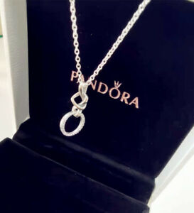 Pandora Genuine Sterling Silver Pendant Knotted Necklace #398078CZ Knotted Heart