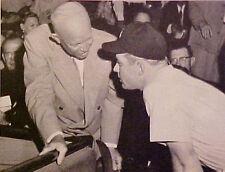 1956 Mantle N.Y Yankees~Washington Senators Baseball~President Eisenhower  Photo