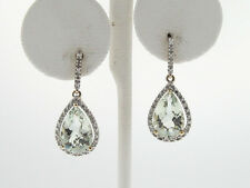 Natural Green Quartz Diamonds Solid 10k Two-Tone Gold Dangle Earrings