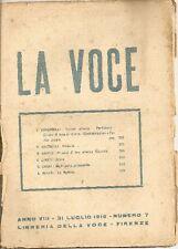 La Voce. 31 Luglio 1916