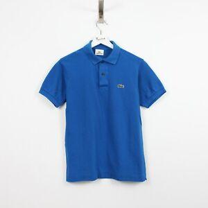 AC40 Vtg Lacoste Polo Mens Blue Short Sleeve Cotton Shirt Size 2 XS