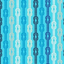 Fabric Seaside Stripes Blue By the Sea on White Cotton 1/4 Yard