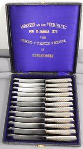 Sehr dekorative alte Obstmesser, Buttermesser, 12 Teile in Originalbox - 1878