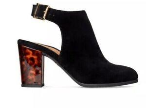 NIB $150 Vionic Women's Lacey Ankle Strap Bootie Black Suede Tortoise Heel 10M