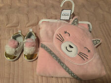 New Carter's Baby Girls Hooded Bath Towel Happy Kitty Cat Face Terry Pink Soft