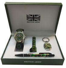 Ejército británico Set de Regalo Con Verde billetera, linterna, Pluma Y Niño De La Muñeca Reloj-anb3
