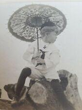 Vintage Postcard RPPC Photo Boy Beach Sailor Suit Parasol