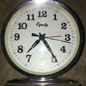 Vintage wind upEquity Silver MetalLoud Bell Tabletop Alarm Clock Tested working