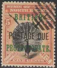 NORTH BORNEO 1902 BP POSTAGE DUE 5c PHEASANT -BIRD CTO