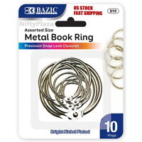 Assorted Size Metal Book Rings Silver Color 10/Pack - Home, School and Office