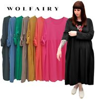 Wolfairy Womens New Plus Size Maxi Dress Flared Swing Long Sleeve Casual Summer