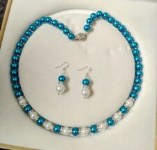 8mm Blue/white Akoya Shell Pearl necklace AAA 18 inches Earring Set  c06