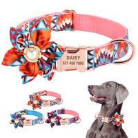 Big Flower Personalised Pet Name ID Dog Collars with Metal Buckle Laser Engraved