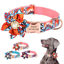 Pink Flower Personalized Dog Collar Custom ID Engraved Name Collar Adjustable