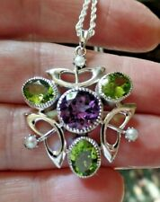 Sufferagette Style Sterling Silver Amethyst Peridot and Pearl Necklace