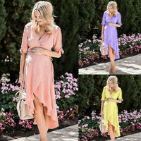 Pregnant Women Maternity Casual Party Solid Tunic V Neck Short Sleeve Long Dress