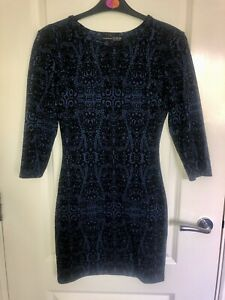 Primark Lace Print Pattern Navy & Black Long Sleeve Bodycon Fitted Dress Size 6