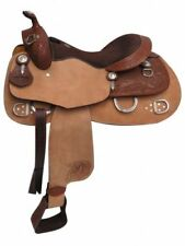 """Double T 16"""" Training Saddle Rough Out Fenders Floral & Basketweave Tooling"""