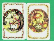 2 VINTAGE PLAYING SWAP CARDS  1970's GIRLS IN CIRCLES  BY ARTIST LEE