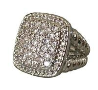Designer Inspired 17x17mm Albion Ring with 2.43Ct Pave Diamonds Ring Size 7