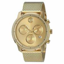 Movado Bold Gold Tone Stainless Steel Mesh 44MM Quartz Chronograph Watch 3600372
