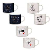 Conjunto de 2 Stacking Mugs Porcelana Taza Regalo Juego de Dos Té Café Tazas