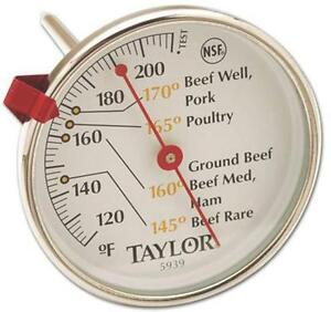 NEW TAYLOR 5939N CLASSIC STAINLESS MEAT THERMOMETER EASY READ DIAL ADJUSTABLE