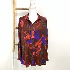 Free People Oversized Blouse Size Small Silky Nights Floral Button Front
