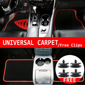 4x Floor Mats Carpet Front Rear For Cat Auto SUV VAN All Weather Clips Universal