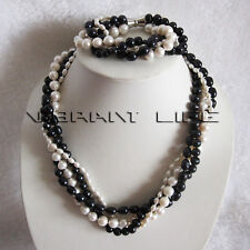 "21""/8"" 4-10mm 4Row White Black Freshwater Pearl Necklace Bracelet Set Jewelry U"