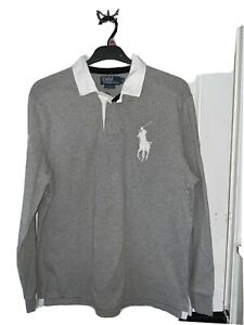 Ralph Lauren Polo Shirt Men's Grey Big Pony Long Sleeve Rugby Custom Fit Size L