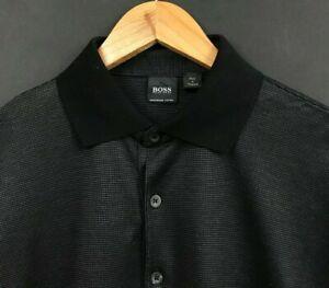 HUGO BOSS Men's Long Sleeve Black Mercerised Cotton Polo Shirt sz M Medium