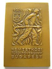h556 Hungary 1971 Budapest World Fire Fighting Competition * Fireman art medal