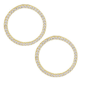 CIRCLE Earrings cz YELLOW GOLD-Plated silver kim katy lady Kylie Nicki style